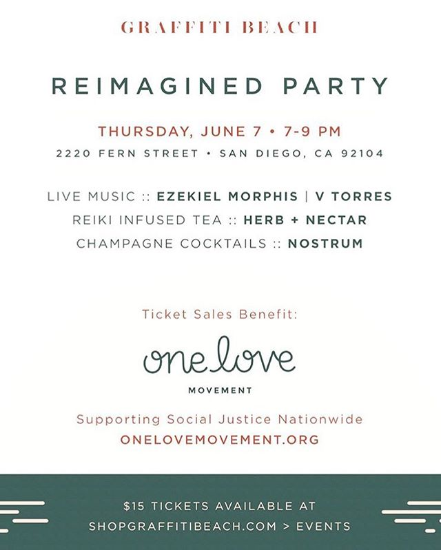 San Diego, I am playing @graffitibeach REIMAGINED Party next Thursday 6/7 along with the incredible @ezekielmorphismusic ... champagne 🍾 cocktails @_nostrum + tea by @herbandnectar ... tickets are $15 and benefit @onelovemovementorg ... I'll be playing new songs for you!