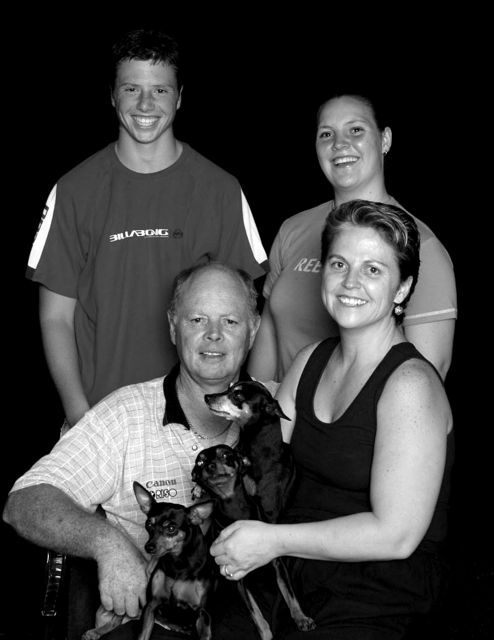 Frans, Griet, Francois & Rita. Yes, We also bred Miniature Pinchers.