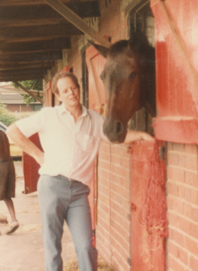 """Frans with his horse  """"Man O'War""""  1983."""
