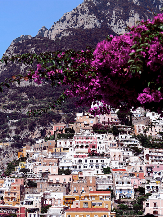 Positano, Italy - Encased in pink bougainvillaea flowers, is a town painted in pastel romanticism…