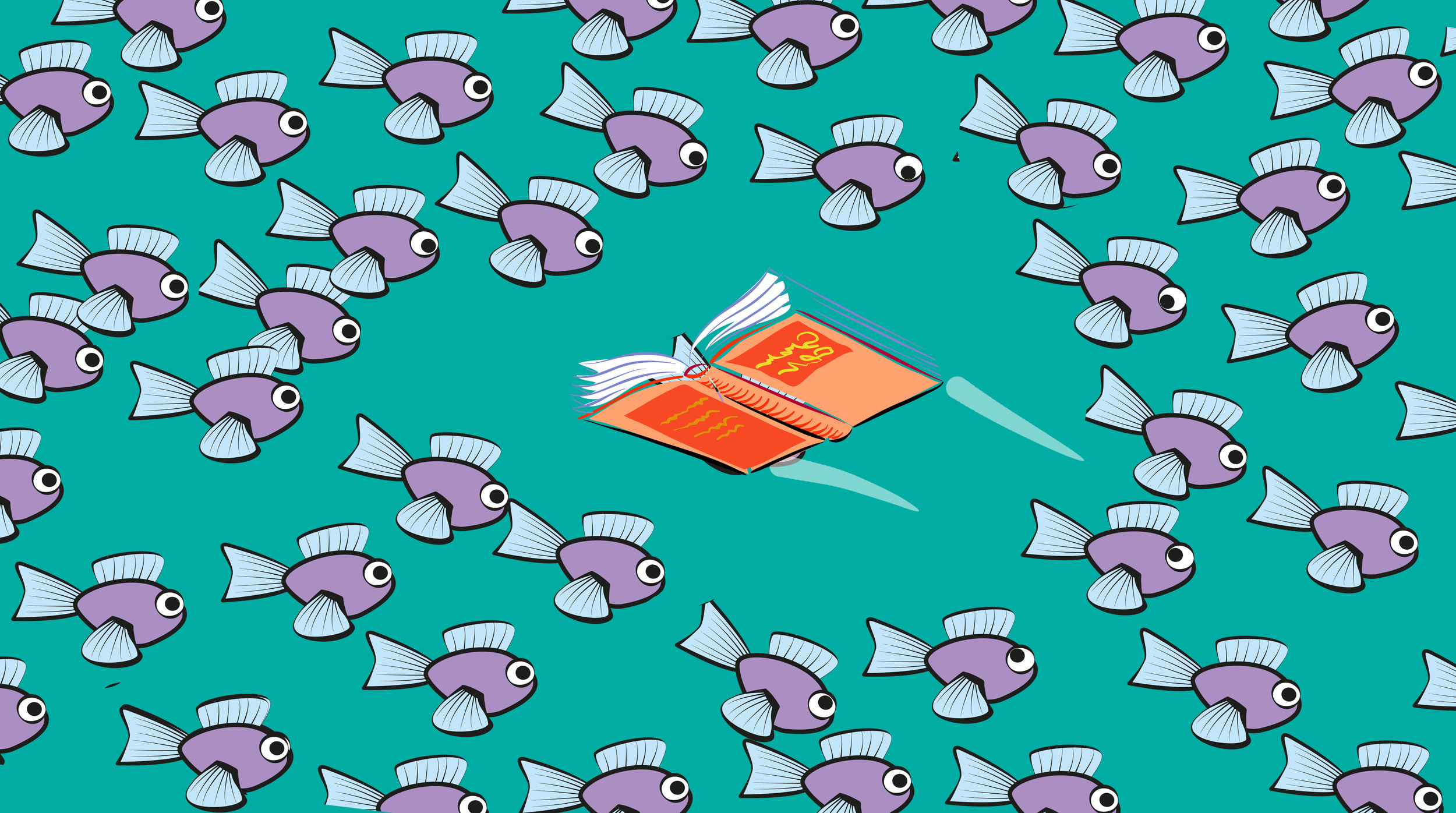 Book swimming in opposite direction of fish