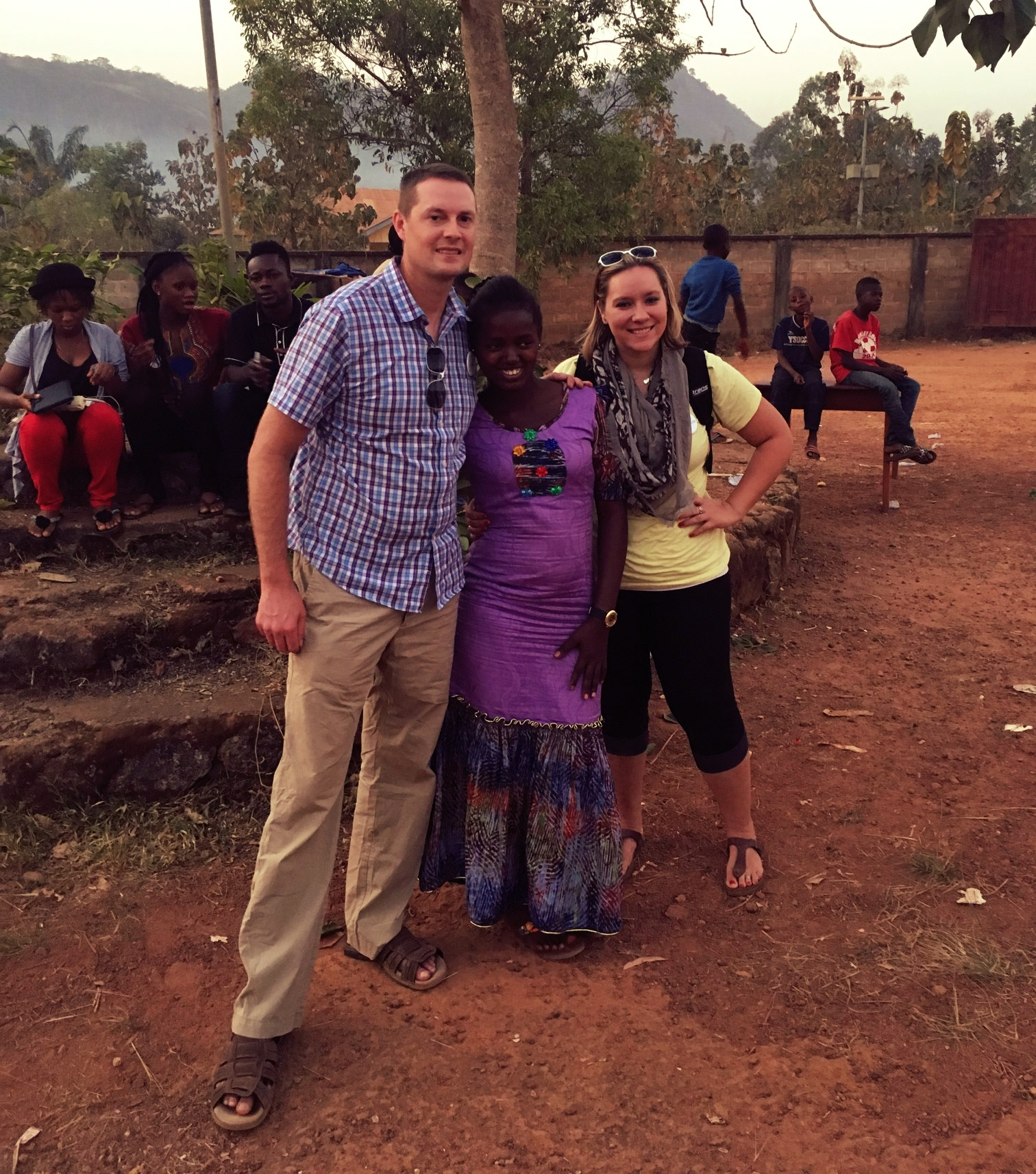 From left to right: Strides for Africa founder, Chris Jimeson; future Koinadugu College student, Mariama; and Feeding Mouths, Filling Minds volunteer, Amy Hegg.