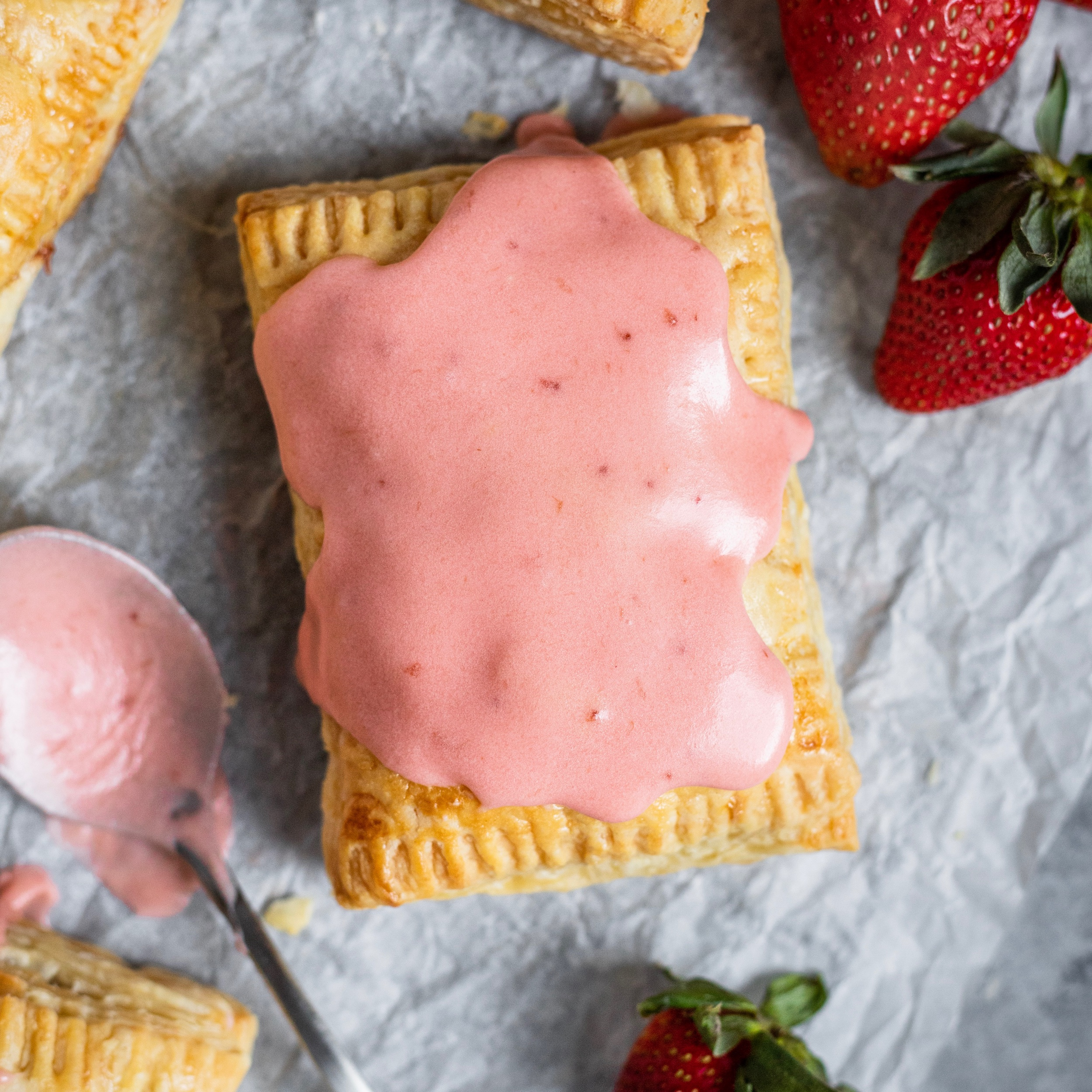 Strawberry Cardamom Puff Pastry Pop Tarts -