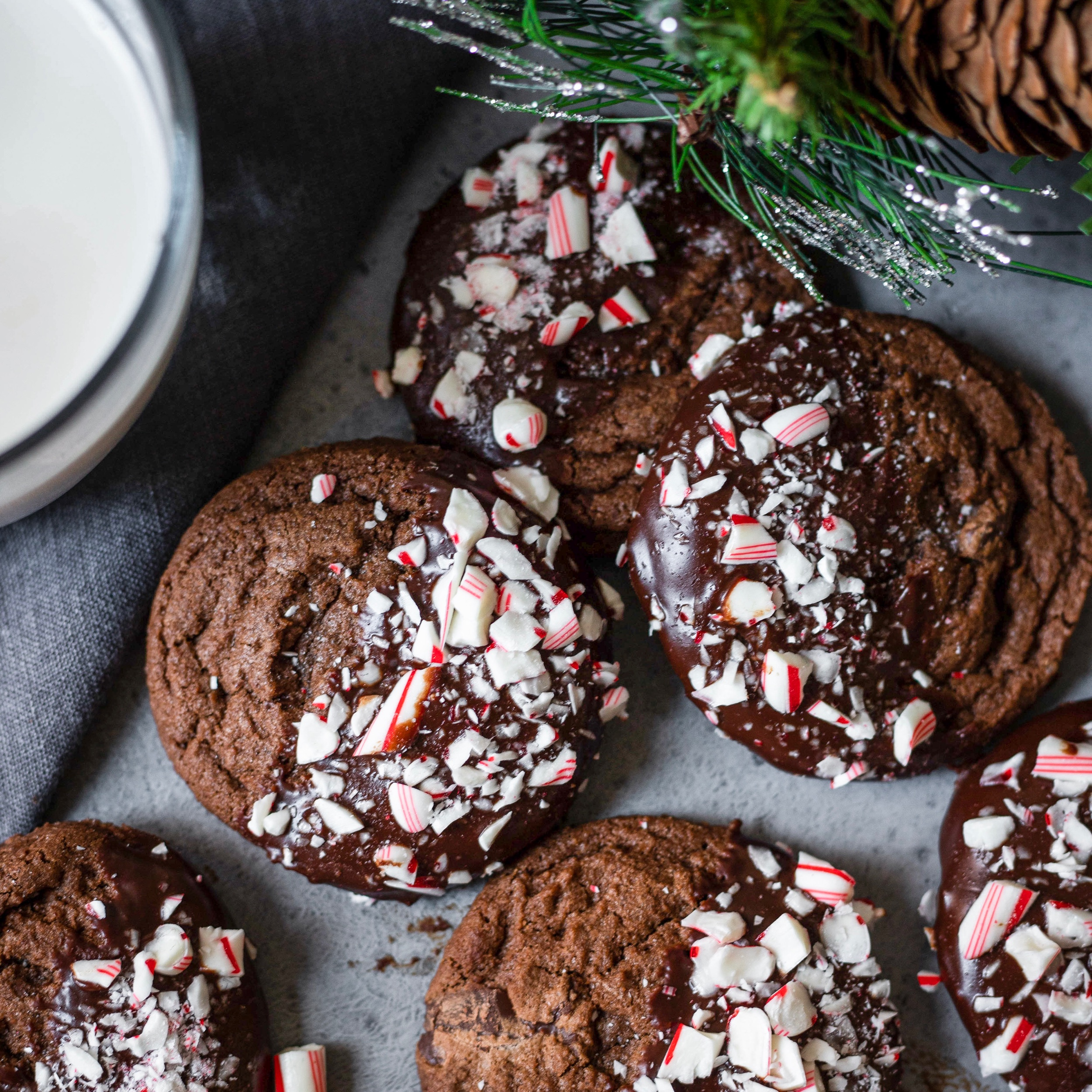 Triple Chocolate Peppermint Ganache Cookies -