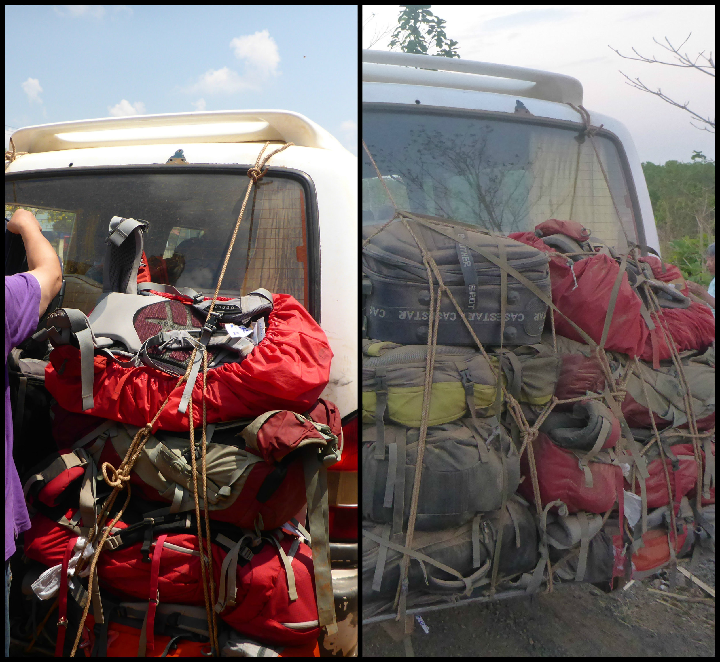 Before and after: Bags en route to Ban Lung, Cambodia