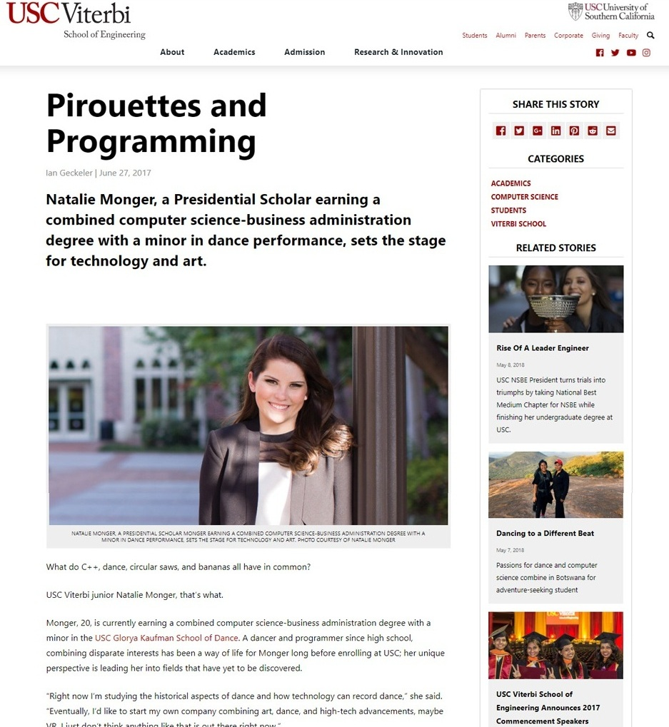 Pirouettes and Programming - Natalie Monger, a Presidential Scholar earning a combined computer science-business administration degree with a minor in dance performance, sets the stage for technology and art.
