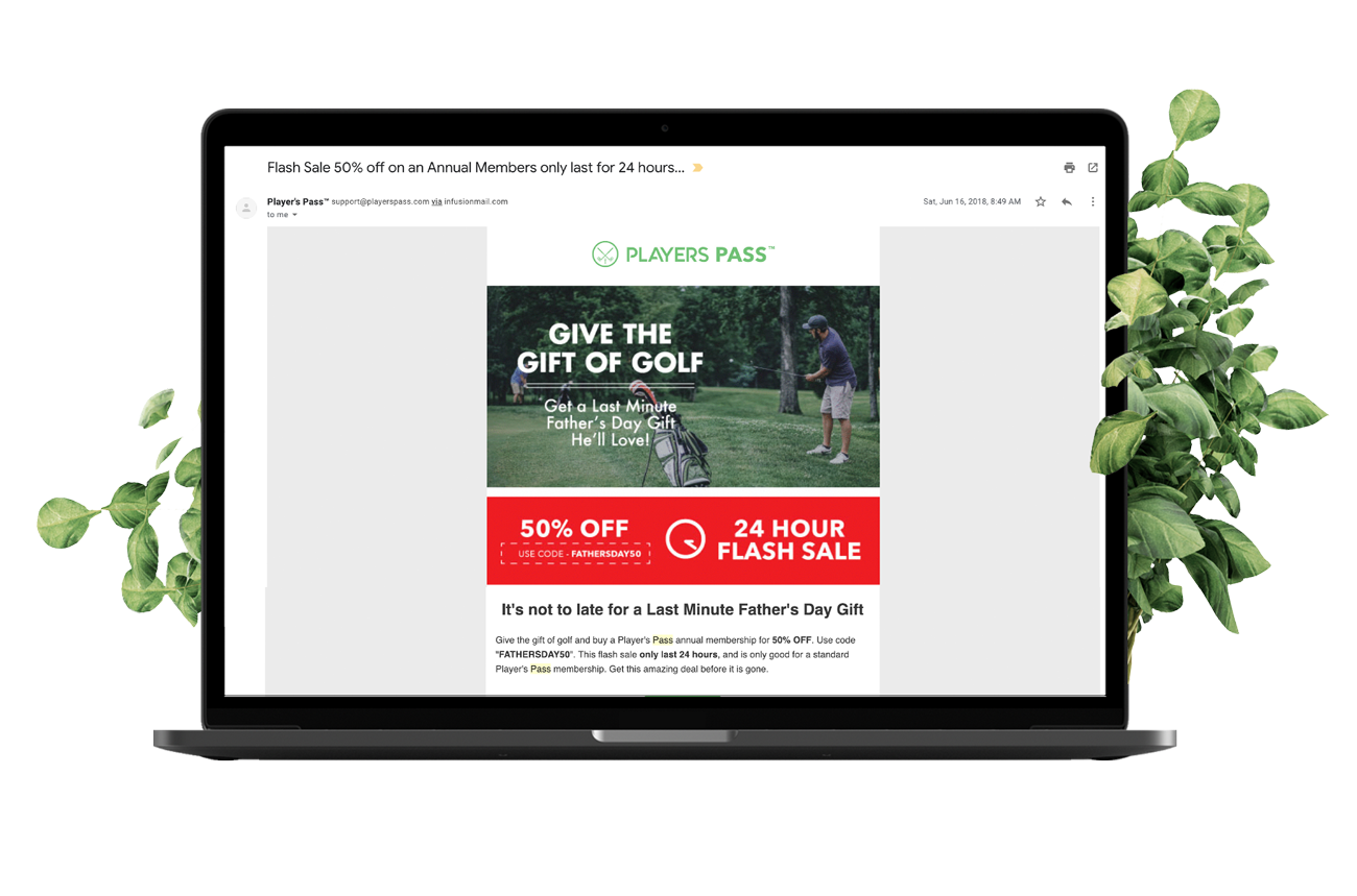 Email marketing template on laptop