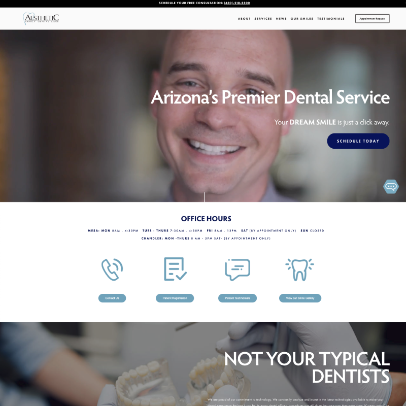 Aesthetic Family Dental Care Site Example