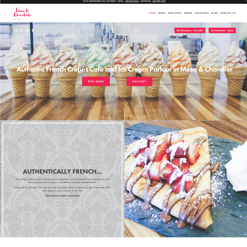 Creme and Chocolats Site Example