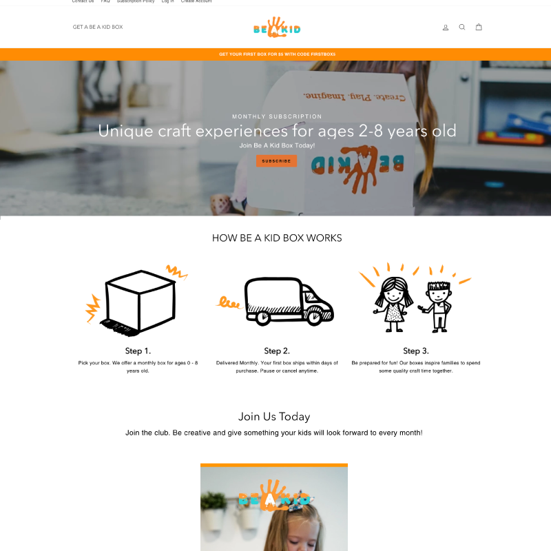 Be A Kid Box Site Example