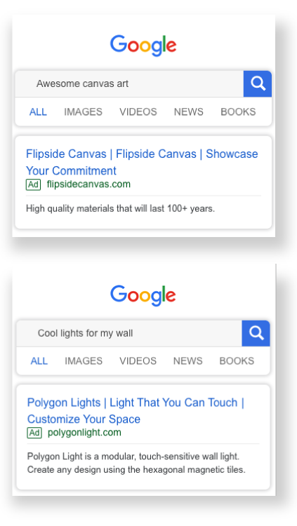 Google Search Ad Examples