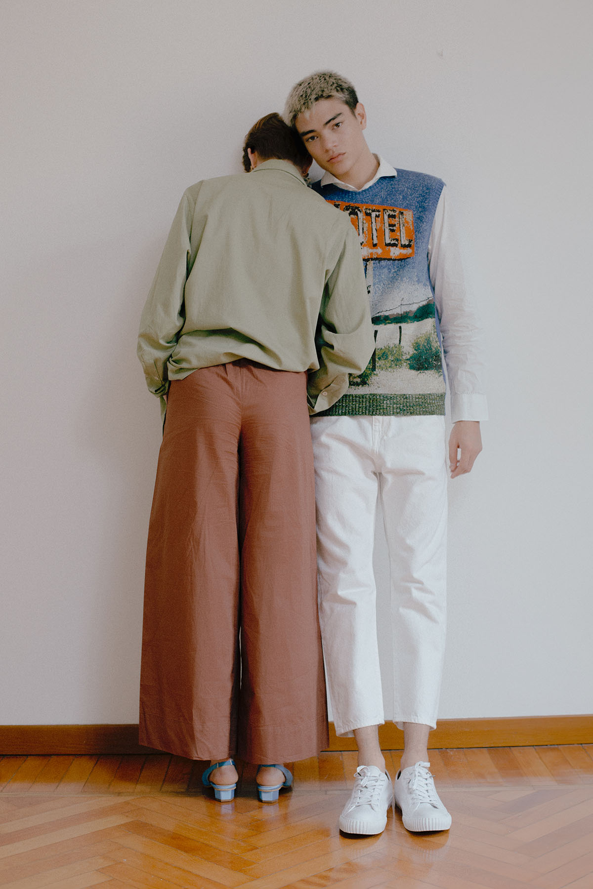 Jeanne:  Shirt  AngeliaAmi  Trousers  Scotch and Soda  Shoes  About Arianne  Earrings  Zara    Geron:  Gilet  N21  Shirt Stylists own Trousers  Edwin  Shoes  Bata Heritage