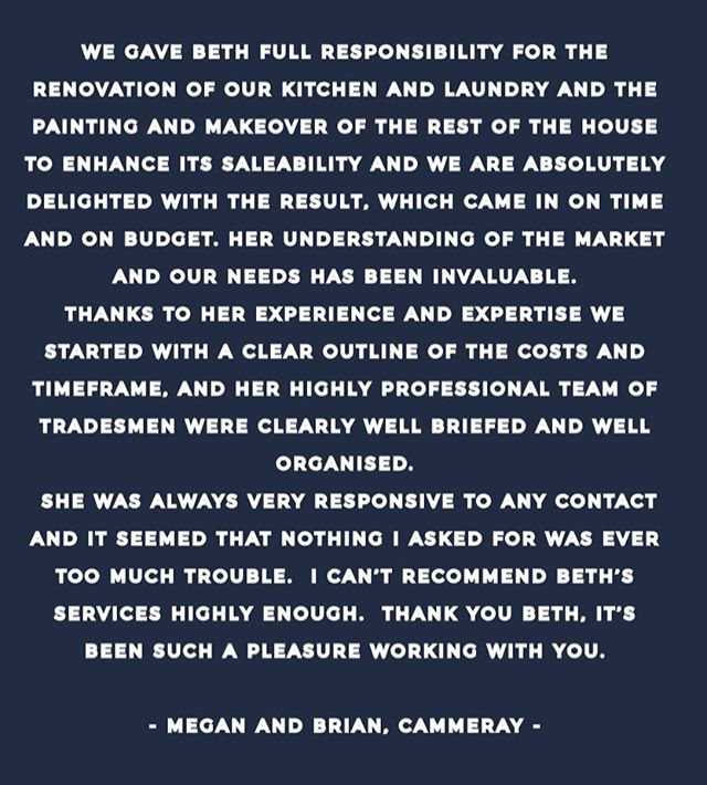 • Nothing better then to start the week with a lovely testimonial from a satisfied client. Can't wait to show you the photos of this one #a_life_with_style #thenavyedit • • • Check out our IGTV to see our #cammeray project take shape.