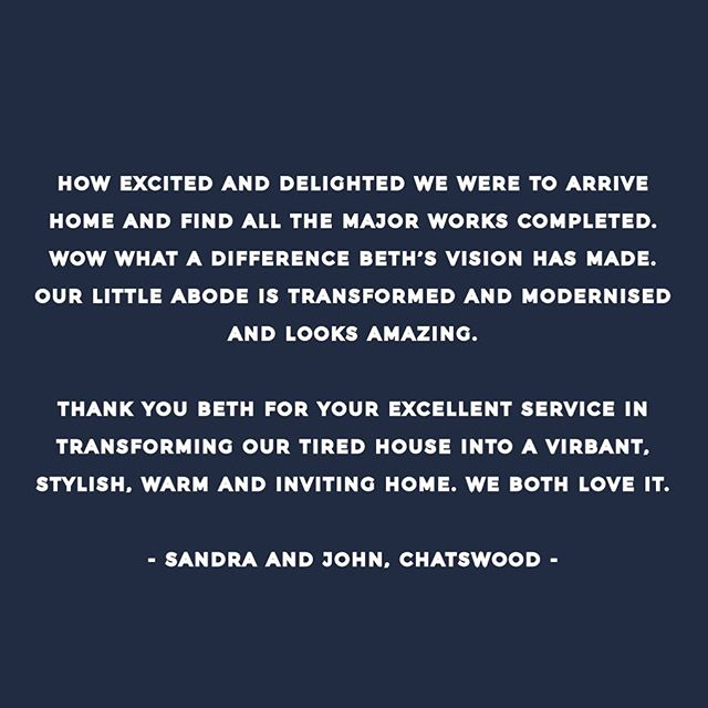 • Working on some really exciting projects at the moment and have just wrapped a few projects. It is always lovely to hear that your clients are happy at the end of a job. We worked with Sandra and John to update their home for the next twenty years. Head over to the website to hear more about their experience (link in profile) #a_life_with_style #thenavyedit
