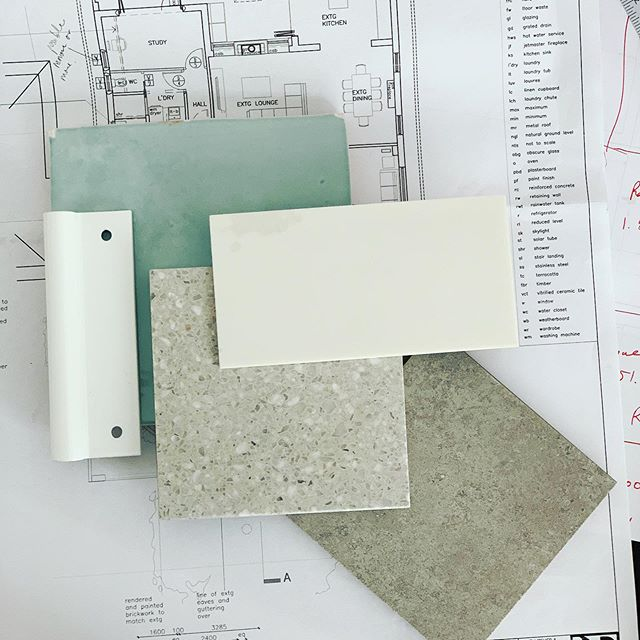 • On the desk today - working on a new scheme for an exciting new project that will go into construction in early 2020. Loving the cool greens and the terrazzo flooring. #a_life_with_style