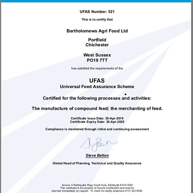 Another inspection passed! We are now a compound feed manufacturer!  #compoundfeed #wepassed #ufas #assurance #manufacturing #bartsbirdfood #pheasants #poultry #birdfood  #wildbirds #processing #quality #assured #production #madeintheuk
