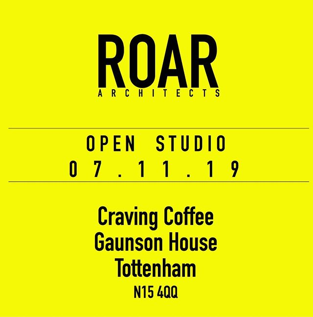 ROAR are opening their doors tonight for The Mill Co Open Studio event! Come along to Gaunson House, Markfield Road from 6pm onwards 🥳🥳🥳 . . . . . . #roar #roararchitects #roarhq #openstudioevent #openstudio #gaunsonhouseopenstudio #gaunsonhouse #tottenhamopenstudio #londonarchitecture #londonarchitects #archdaily #archihunt #archisource #arkitect #arkitecture
