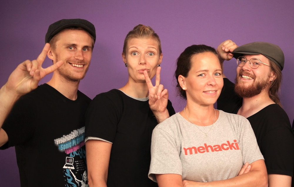 Writing learning material, scripting and filming instructional videos, building Atelier online environment and testing it with educators and students have kept the team busy! From left Mikko, Sanna, Heini and Antti at Mehackit Studio.