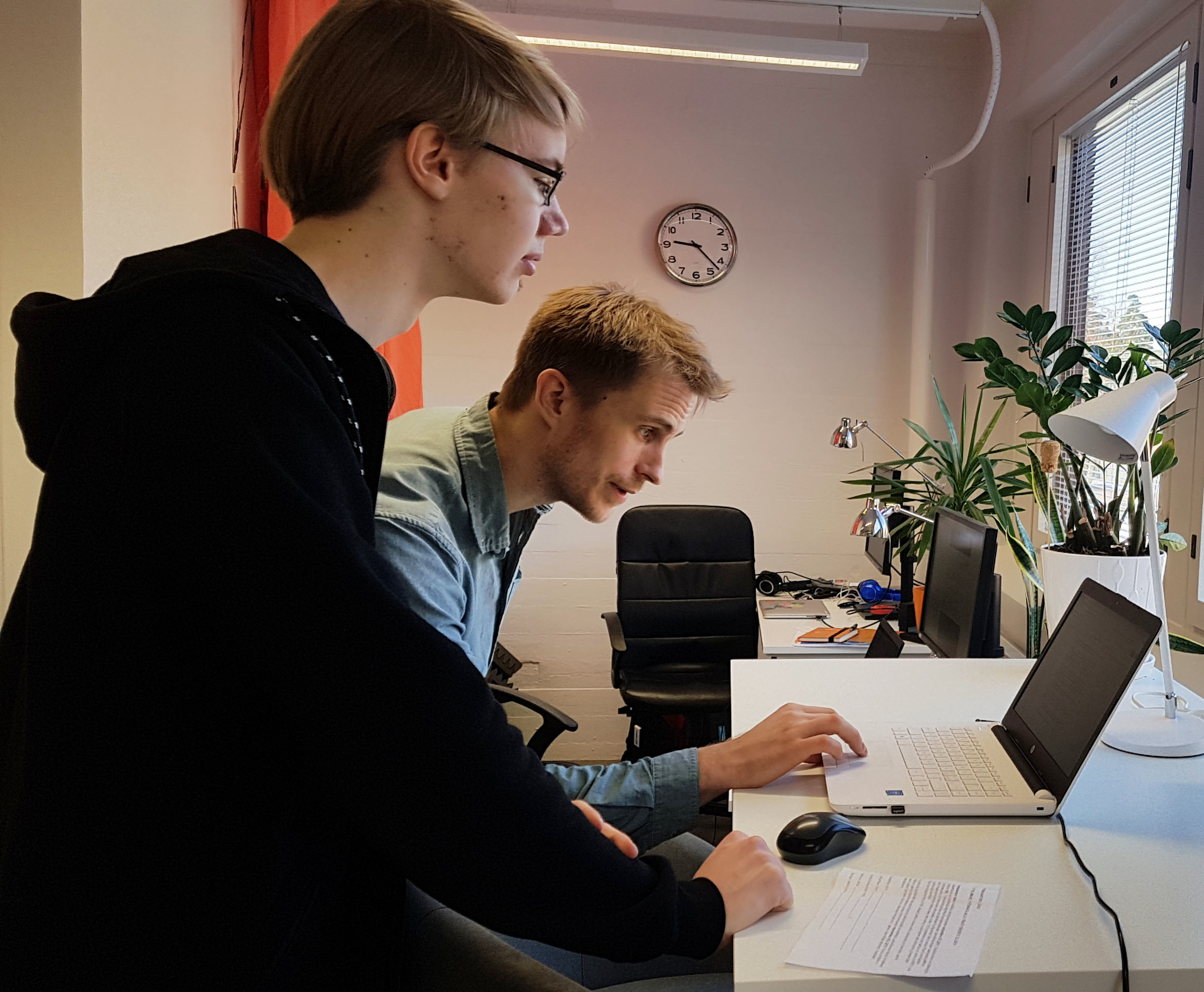 Harri and Mikko (our CPO) exploring Mehackit Atelier at Mehackit's office.
