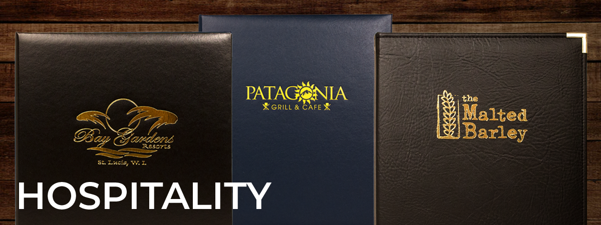 Hospitality binders for use as reservation books, in room directories, and captains books. Covers : Captains Book, In Room Directory, Pinehurst Binder, and Reservation book.