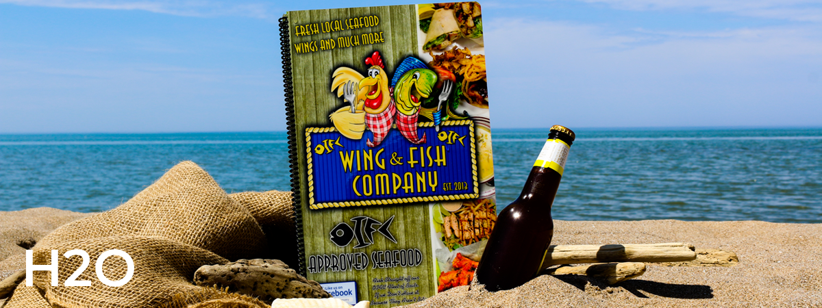 Ultra durable, waterproof, digitally printed cards with your full color menu and bound with black spiral. Cover :H20.
