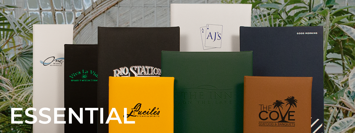 An humble collection of hearty menu covers, available in nature inspired hues. Covers : Park Ave.