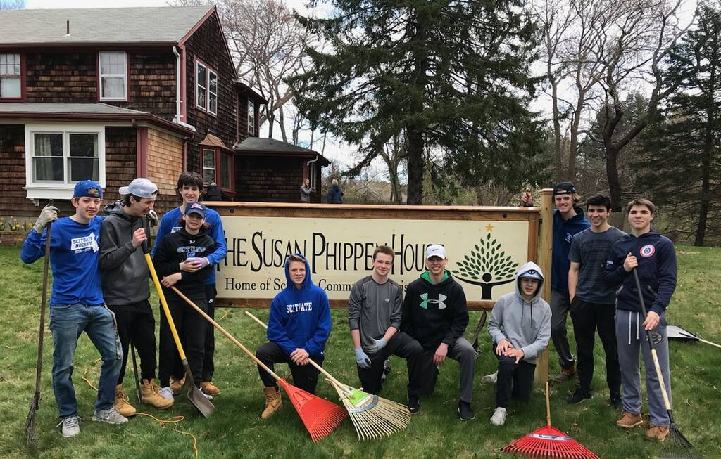 HS Boy's Hockey Team Helps with Spring Clean Up at the Susan Phippen House - Wicked Local, May 2019
