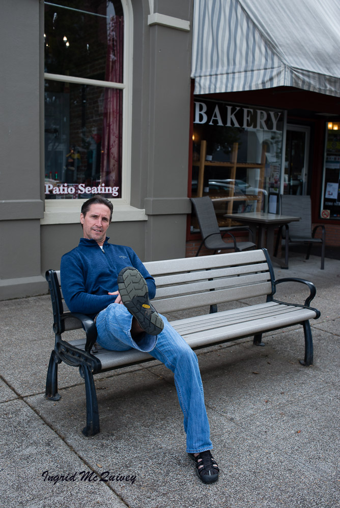 Dave sitting in the town of Independence, Oregon.