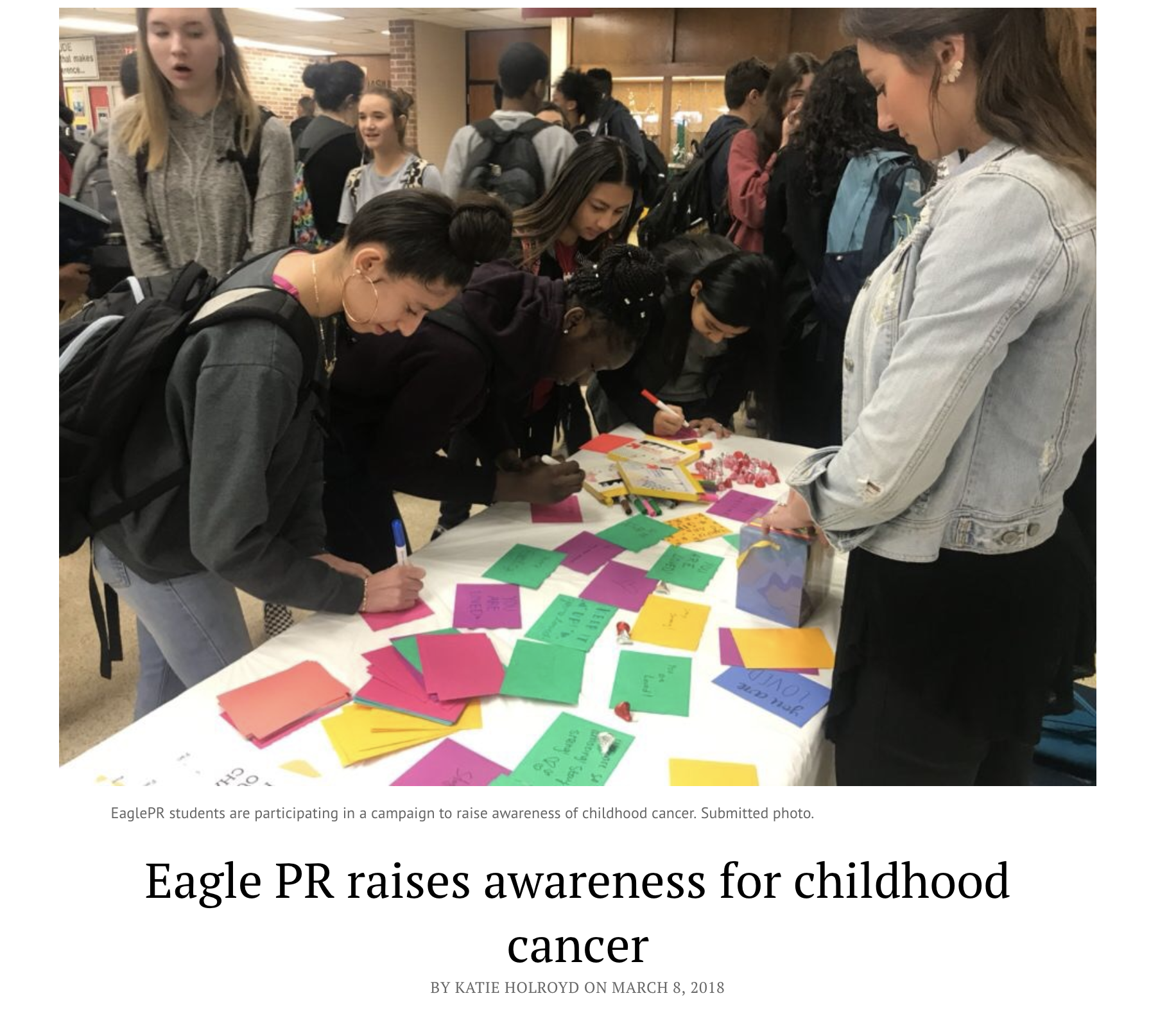 Eagle PR raises awareness for childhood cancer