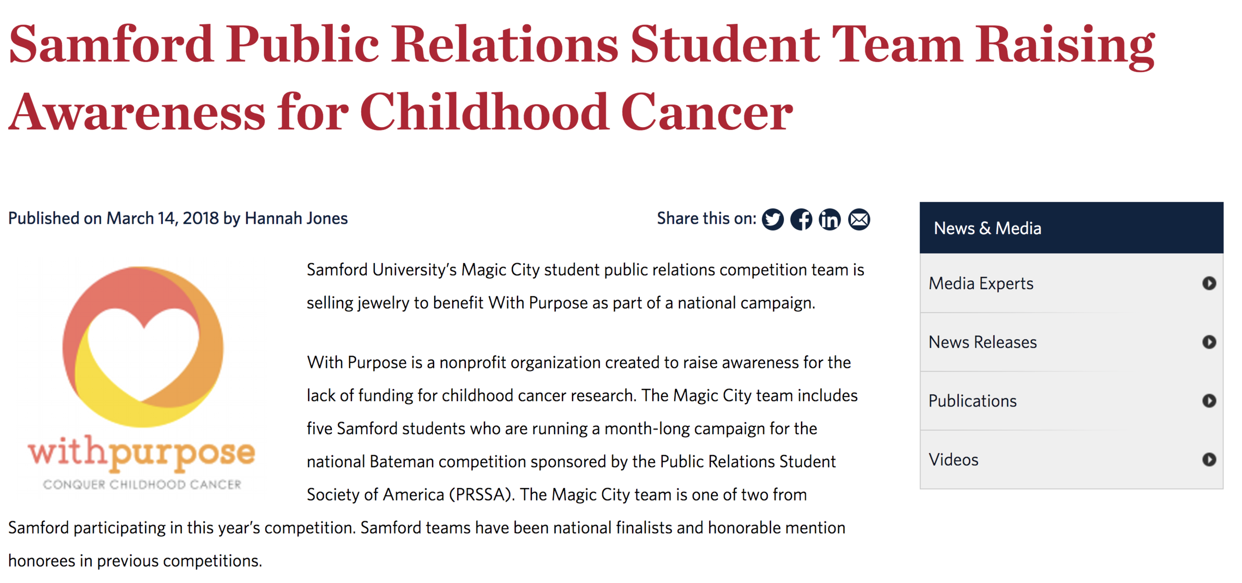Samford Public Relations Student Team Raising Awareness for Childhood Cancer