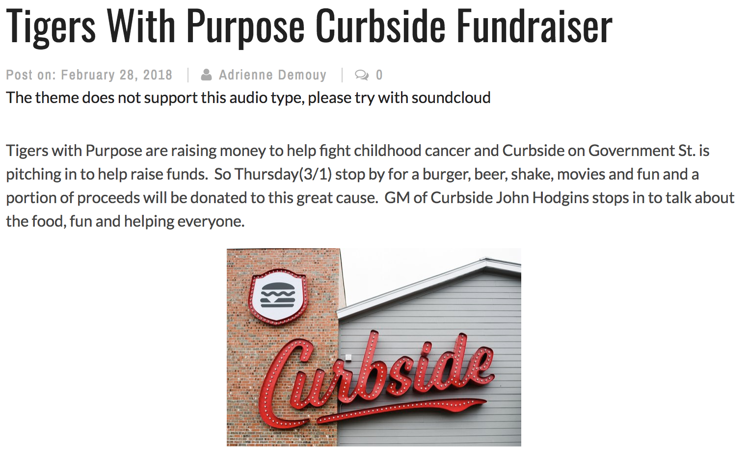 Tigers With Purpose Curbside Fundraiser