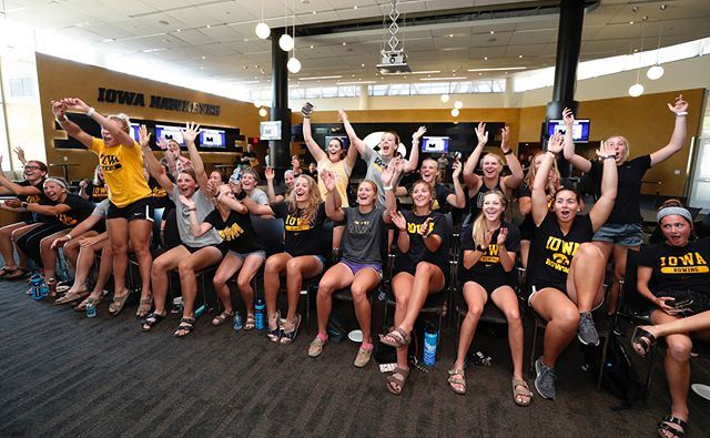 The Iowa Hawkeyes celebrate after receiving an at large bid to the 2018 NCAA Rowing Championships Tuesday, May 15, 2018 at Carver-Hawkeye Arena. The 22 team field will compete May 25-27 in Sarasota, Florida. (Brian Ray/hawkeyesports.com) #hawkeyes #fightforiowa