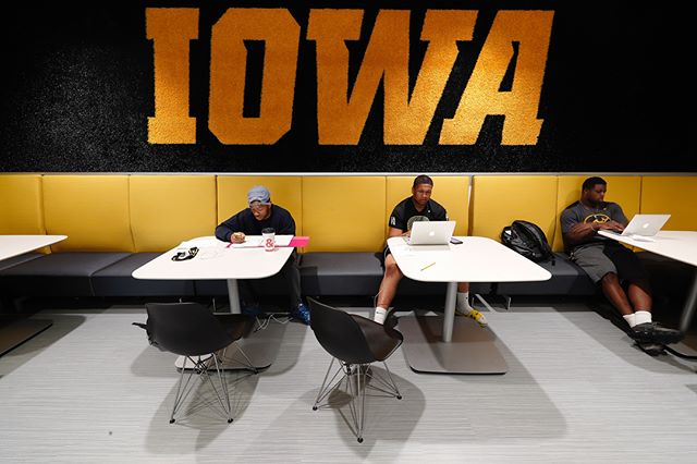 Good luck to everyone on their finals. Our student athletes are taking full advantage of the different spaces and services in the newly renovated Gerdin Athletic Learning Center as they prepare. (Brian Ray/hawkeyesports.com) #wingraduatedoitright #hawkeyes #fightforiowa