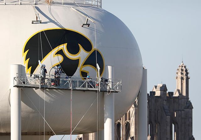 The first coat of paint on the water tower Tiger Hawk is nearly complete. #hawkeyes #fightforiowa