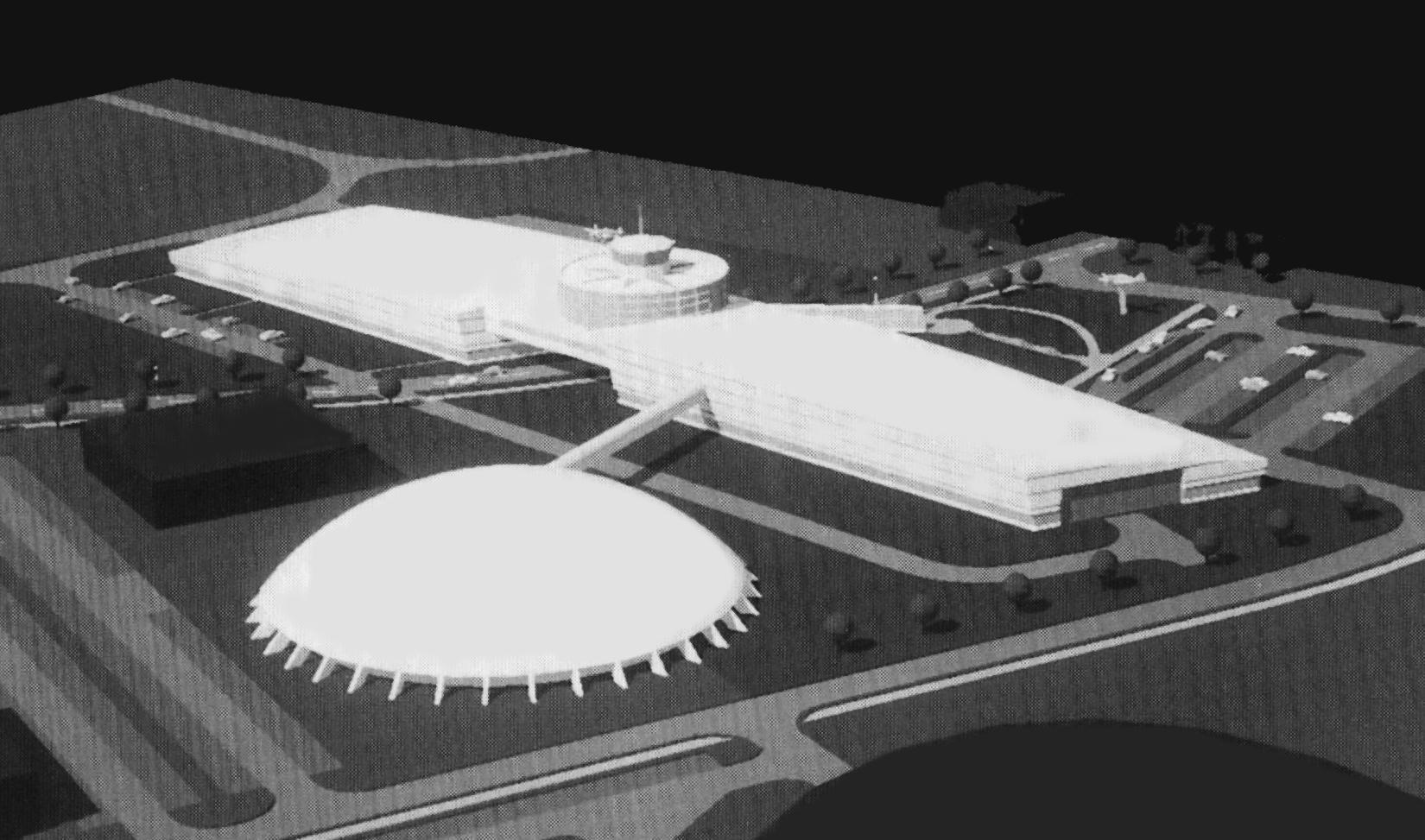 Tegning av Globen som skulle bli kald krig museum i 1998