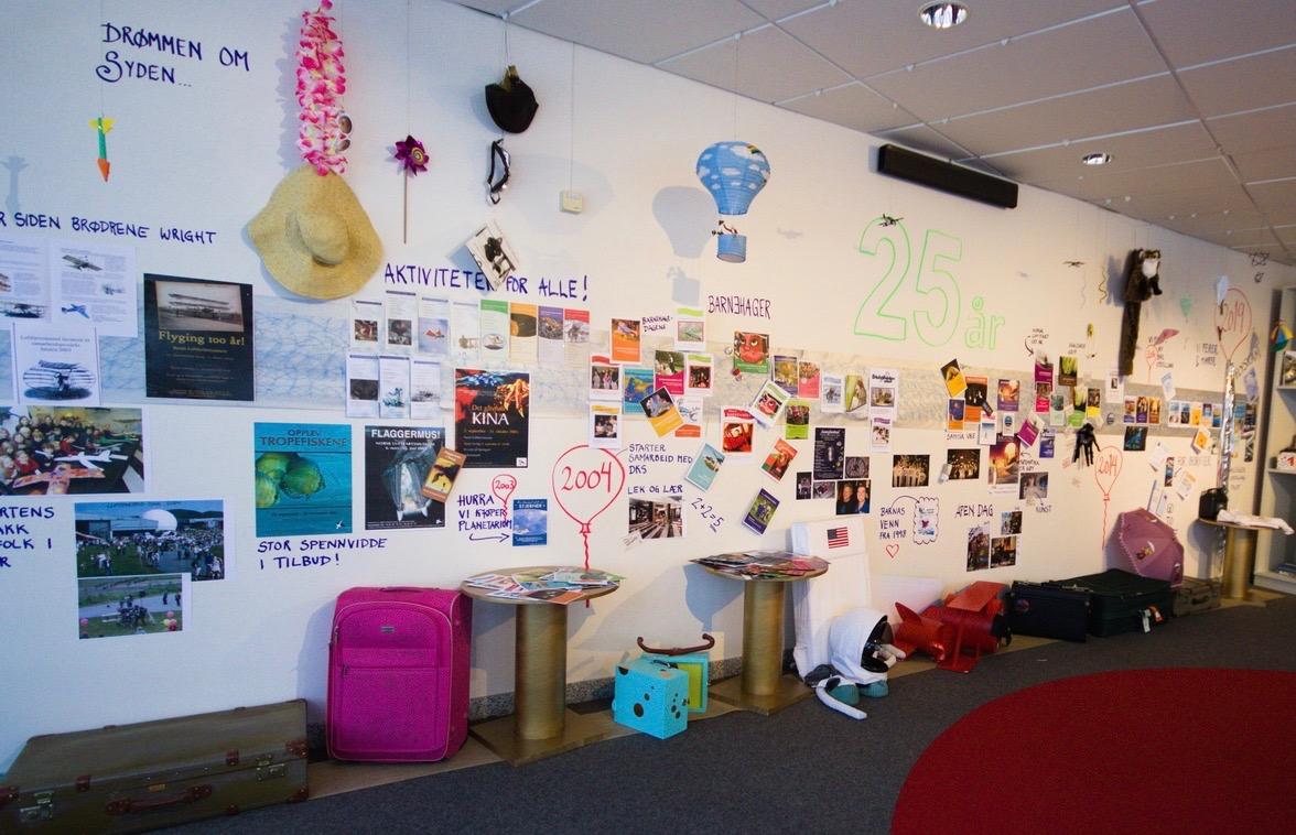 I start-rommet var det laget en tidslinje for museet gjennom 25 år