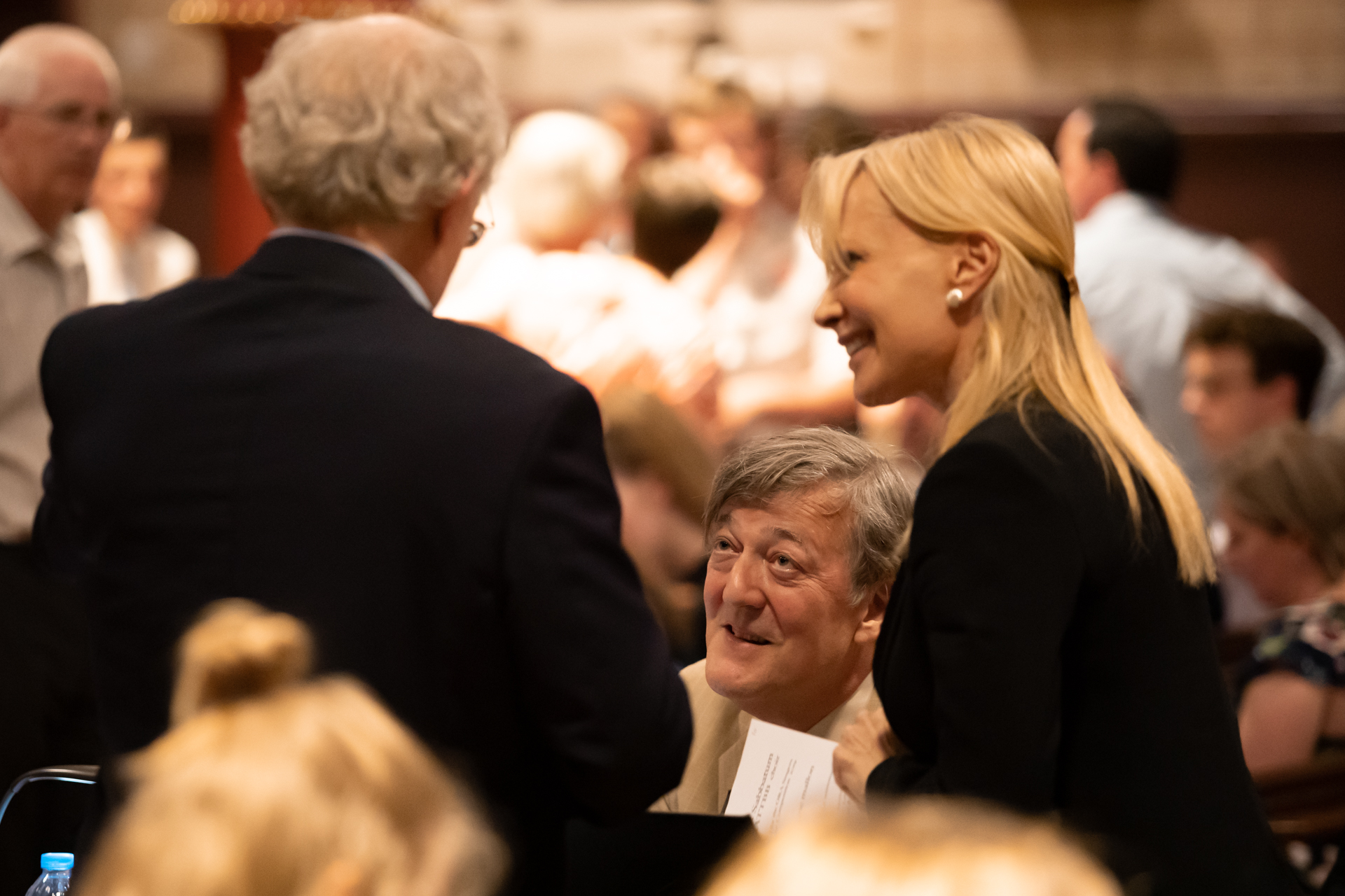 Suzi Digby (Artistic Director & Conductor), John Rutter (Panellists) and Stephen Fry (Chairman of the Panel). Photo: Nick Rutter