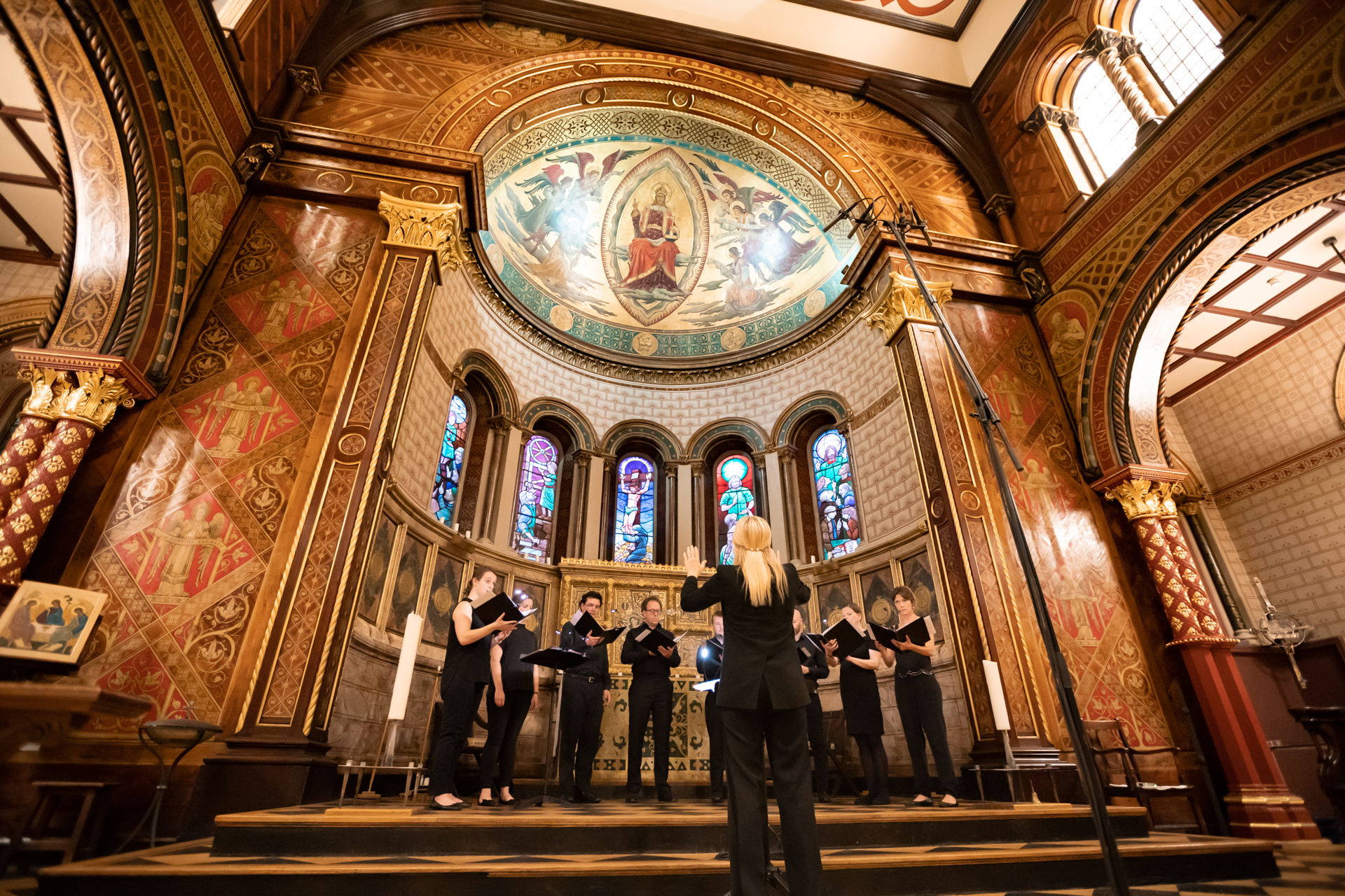 ORA Singers perform in the Chapel at King's College London. Photo: Nick Rutter