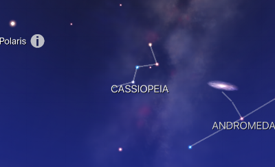 "Once you've found Polaris, look out for the ""bent W"" on it's side, to the lower left of it. That will be Cassiopeia. If you follow a line from Polaris to the centre of the bent W, it should roughly line up with the Andromeda galaxy. Note that you won't be able to see Andromeda with the naked eye, unless you have a dark sky."