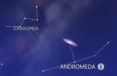 Close up of Andromeda and Cassiopeia. If it helps you to remember, the constellation of Andromeda looks like the top half of a person chained to a rock. Andromeda was the princess that was offered up to a sea monster in Ancient Greek Mythology. Cassiopeia was her mother. Andromeda was ultimately saved by Perseus, who cut off the head of Medusa, and showed it to the sea monster, thus turning it into stone. Perseus flew back in the nick of time on his winged horse, Pegasus. Note that all four constellations, Cassiopeia, Andromeda, Perseus, and Pegasus are adjacent to one another in the night sky