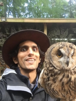 Selfie with an owl. I can't remember which one.