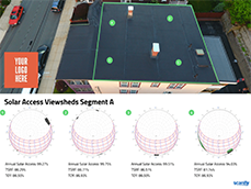 EXPORT A SHADE REPORT  The first and only shade report with a drone's eye view of the roof(s), with viewshed reference points.