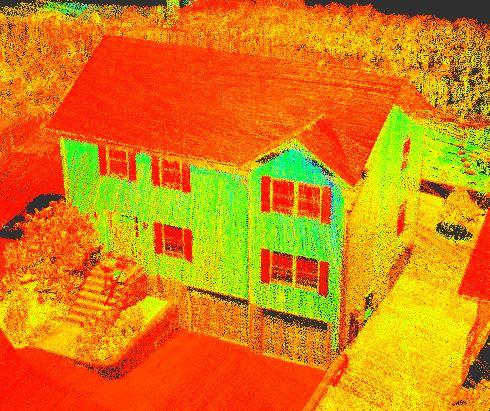 This before shot shows the point cloud data Scanifly acquired in the field using Flydar.
