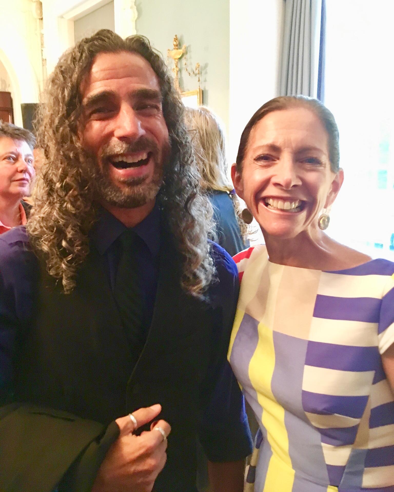 BRCSJ Chief Activist Robt Seda-Schreiber with First Lady Tammy Murphy (proud @ Pride Reception, Governor's Mansion).jpg