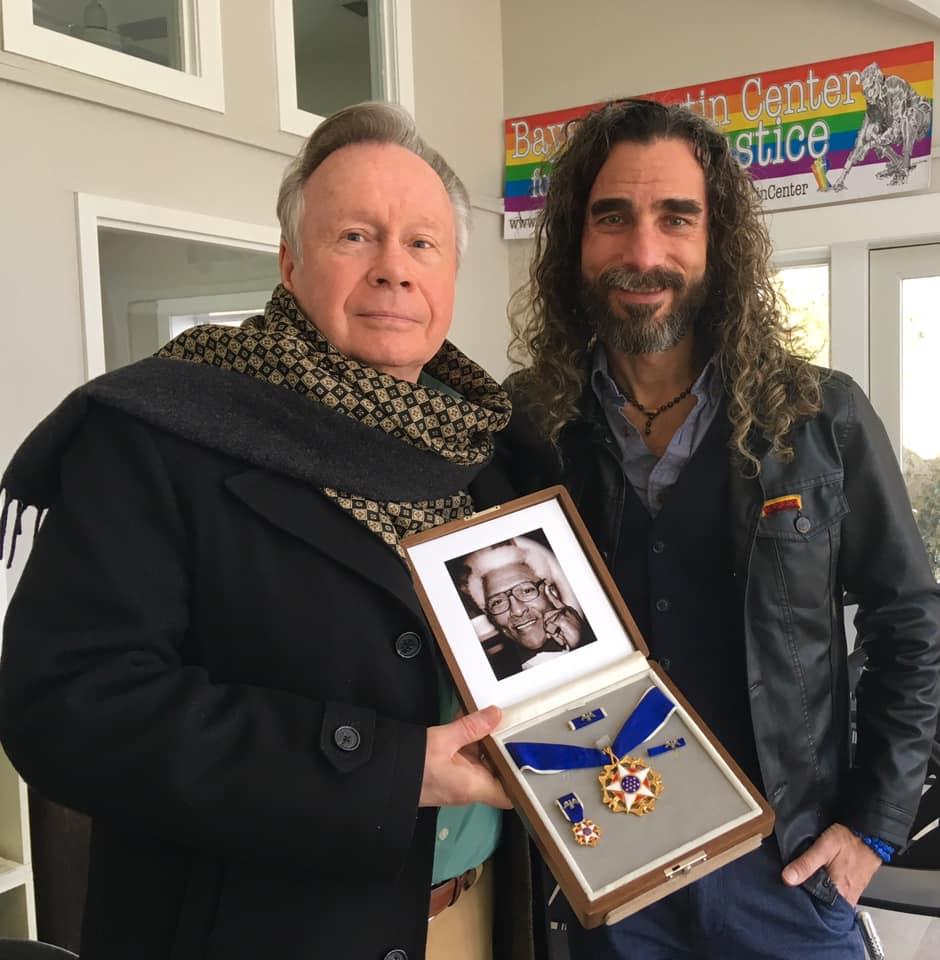 Walter Naegle  & Chief Activist  Robt Seda-Schreiber  celebrate Bayard Rustin's birthday @ BRCSJ HQ 2019.