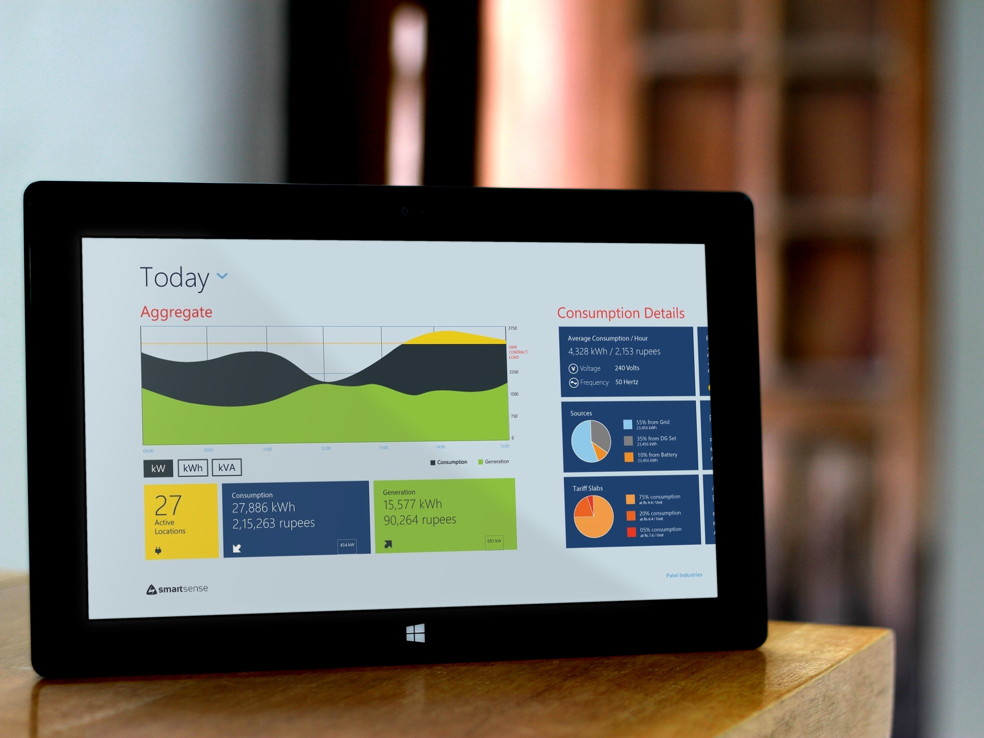 Windows Metro App for CXOs to monitor and manage power consumption of their establishment