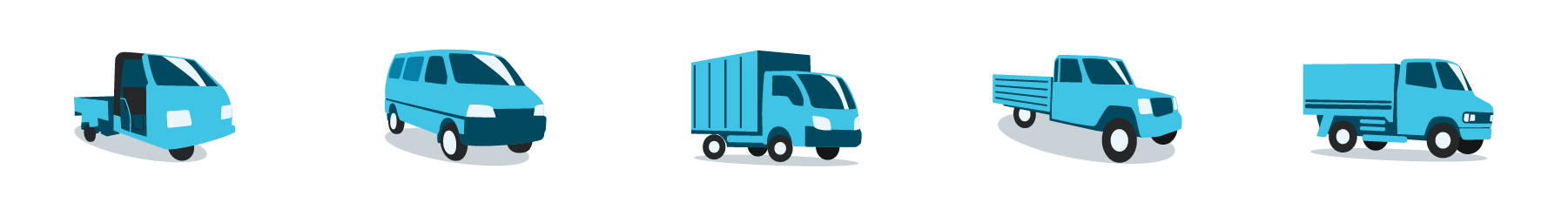 Illustrations for various types of trucks