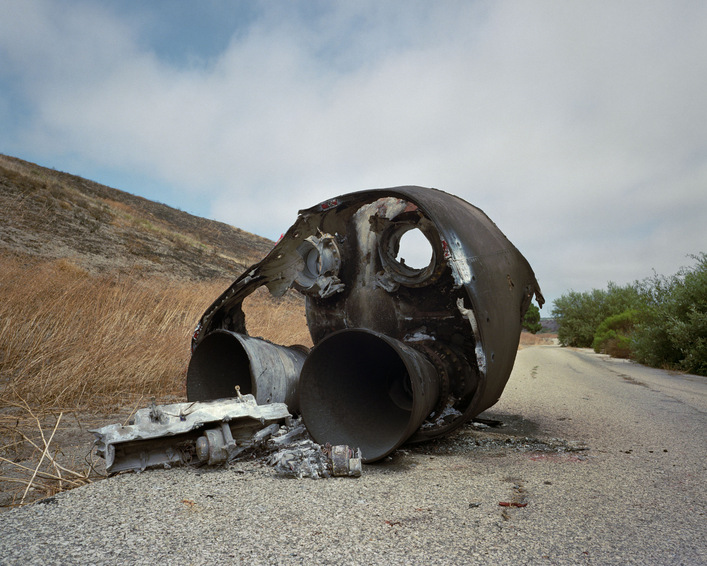 Debris from 1st stage of unsuccessful Minuteman I missile test launch, Vandenberg Air Force Base, California, 1993.