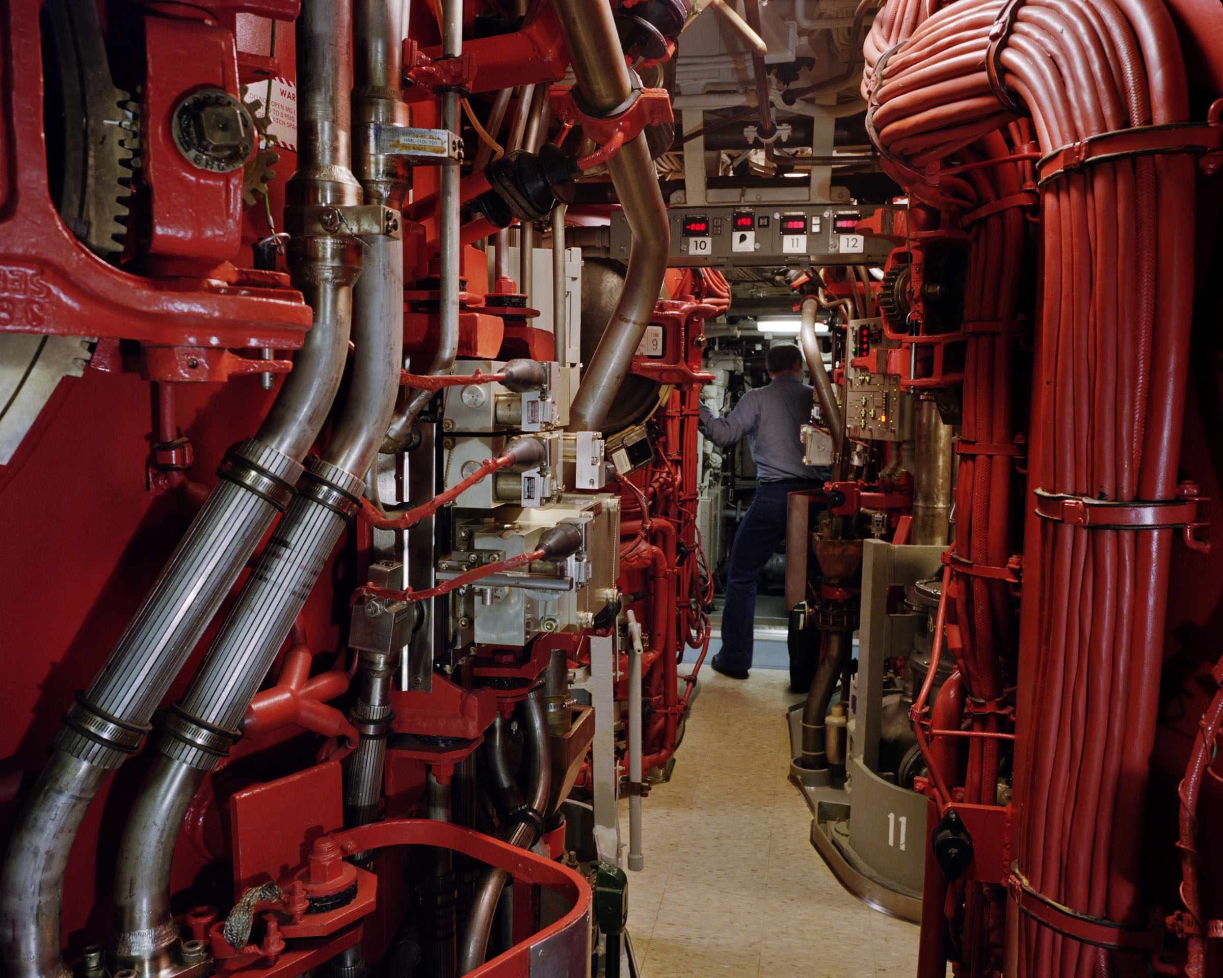 Trident submarine missile tubes, second level, USS Alaska, Naval Submarine Base Bangor, Washington, 1992.