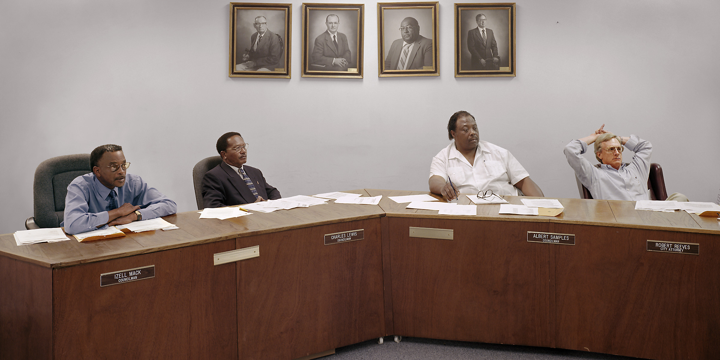 Wadley, Georgia (population 2,468) City Council, August 13, 2001 (L to R): Izell Mack, Charles Lewis, Albert Samples (Mayor), Robert Reeves (City Attorney) 2001.
